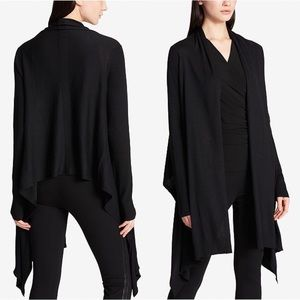 DKNY Black Open Front High Low Cozy Cardigan